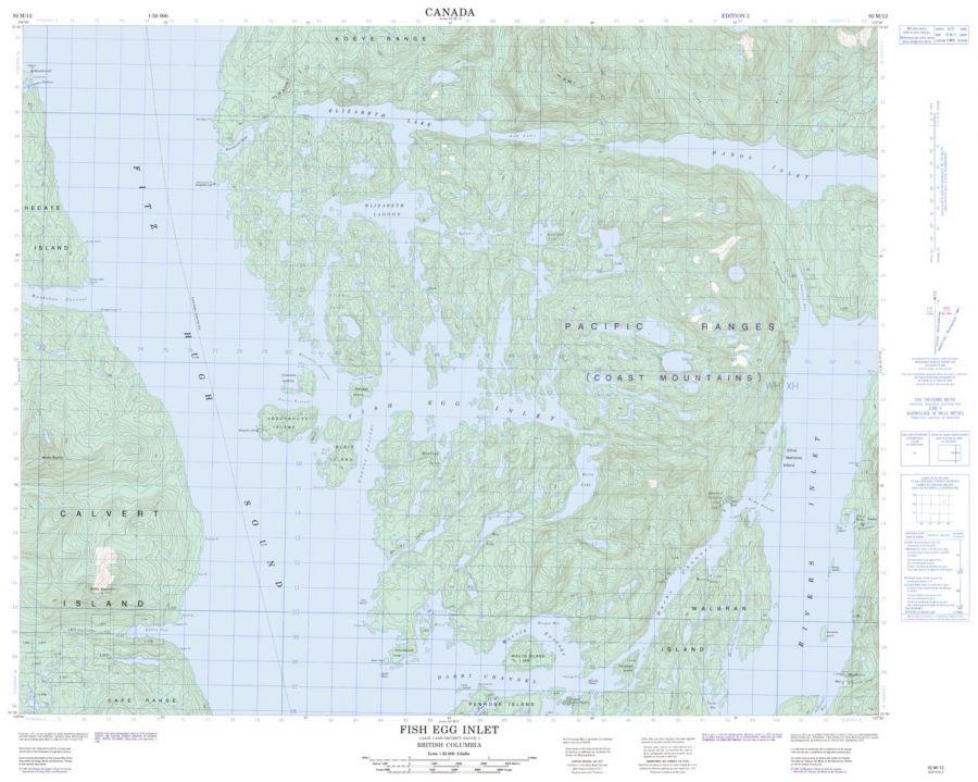 Fish Egg Inlet - 92 M/12 - British Columbia Map