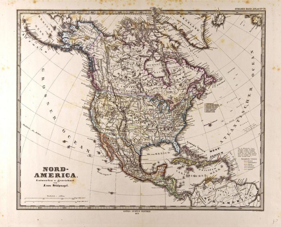 North America Map In German Gotha Justus Perthes 1872 Atlas