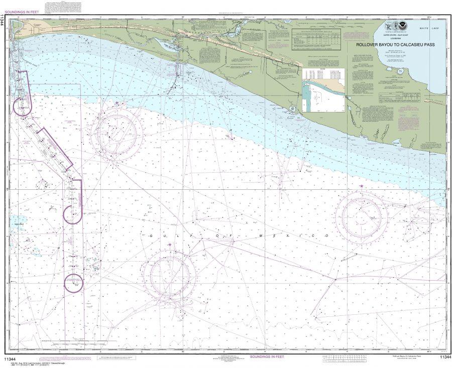 Noaa Chart 11344 Rollover Bayou To Calcasieu Pass