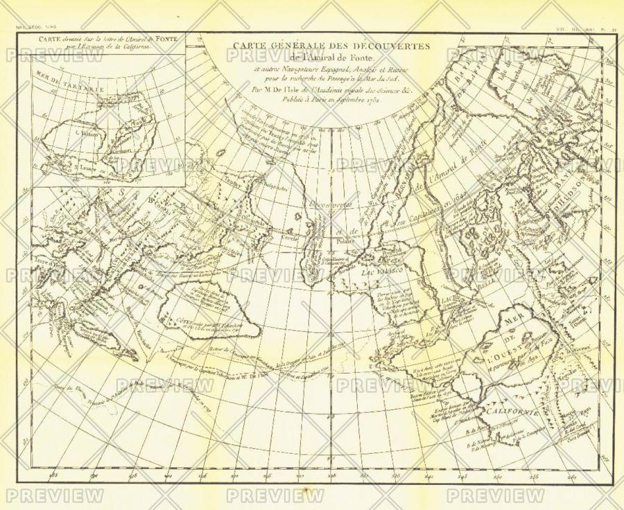 Carte Generale Des Decouvertes De Lamiral De Fonte 1752 Published 1892 Map