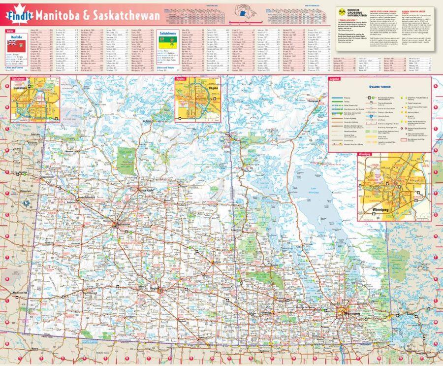 Manitoba Saskatchewan Wall Map