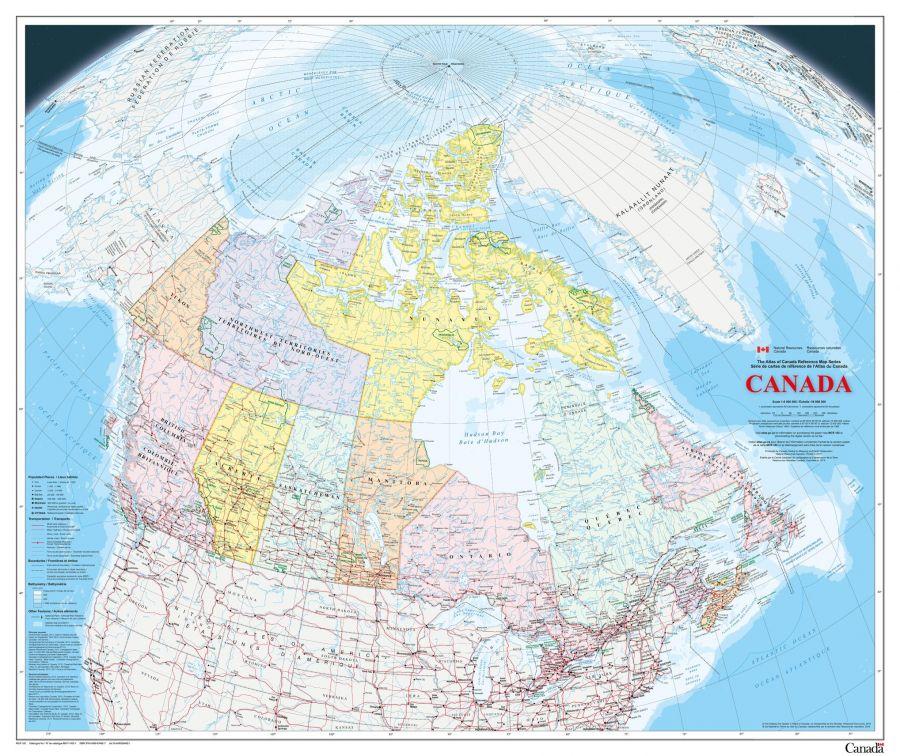 Canada Wall Map Bilingual Atlas Of Canada