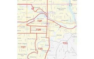 Calgary, Alberta Postal Code Forward Sortation Areas Map