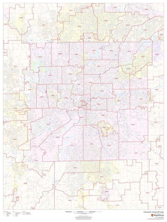 Indianapolis Indiana Zip Codes Map