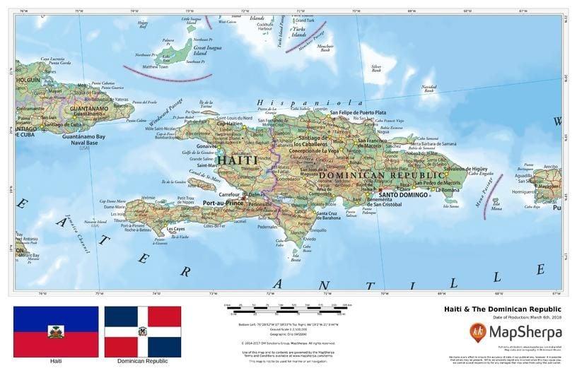 Haiti & The Dominican Republic Map on