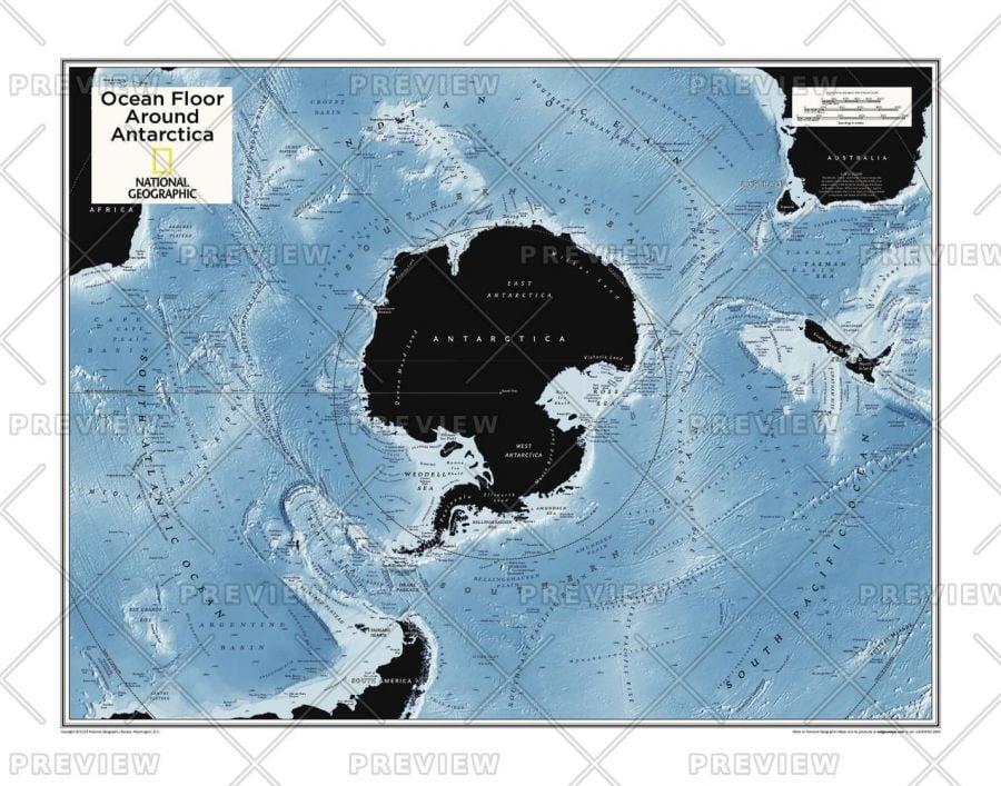 Ocean Floor Around Antarctica Atlas Of The World 10Th Edition Map