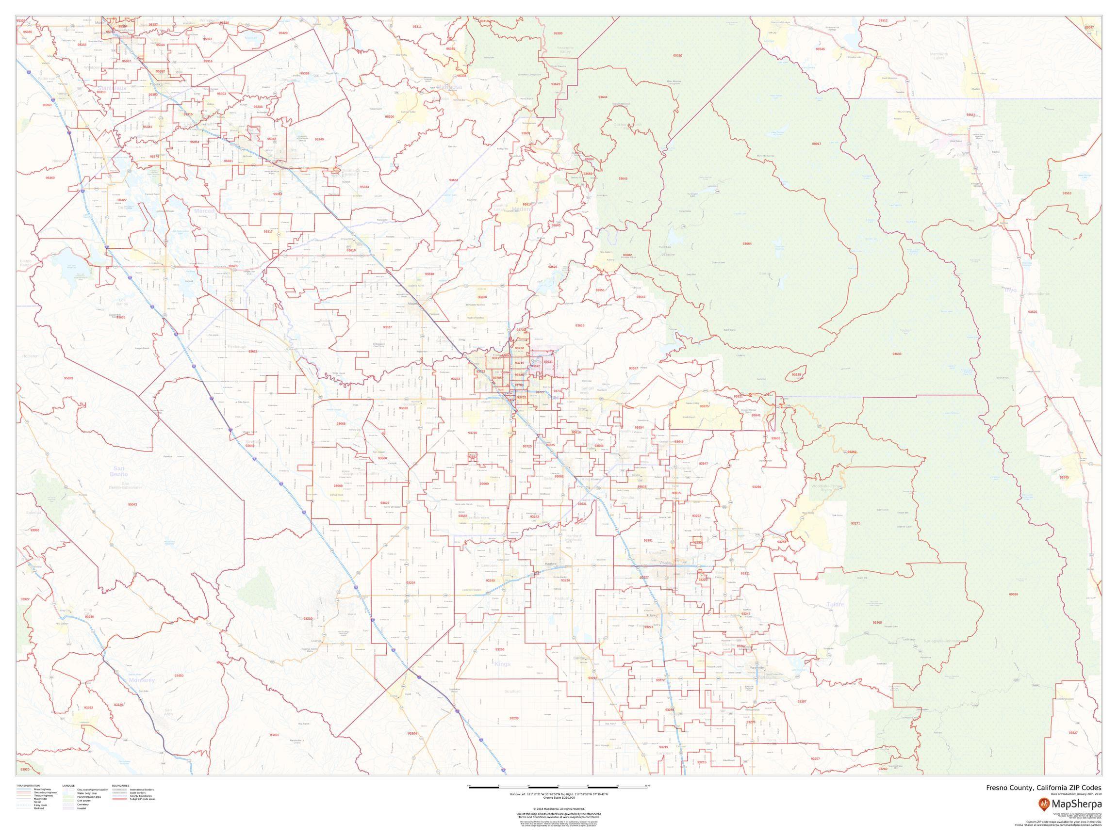 Map Of California Fresno.Fresno County Zip Code Map California