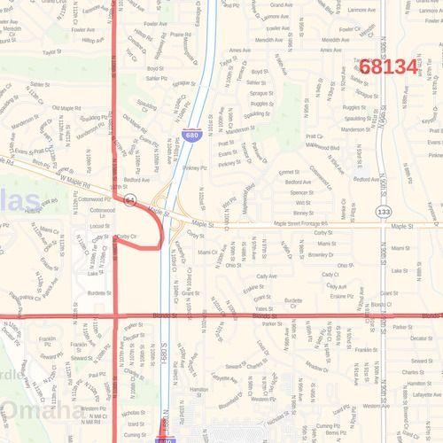 Omaha ZIP Code Map on