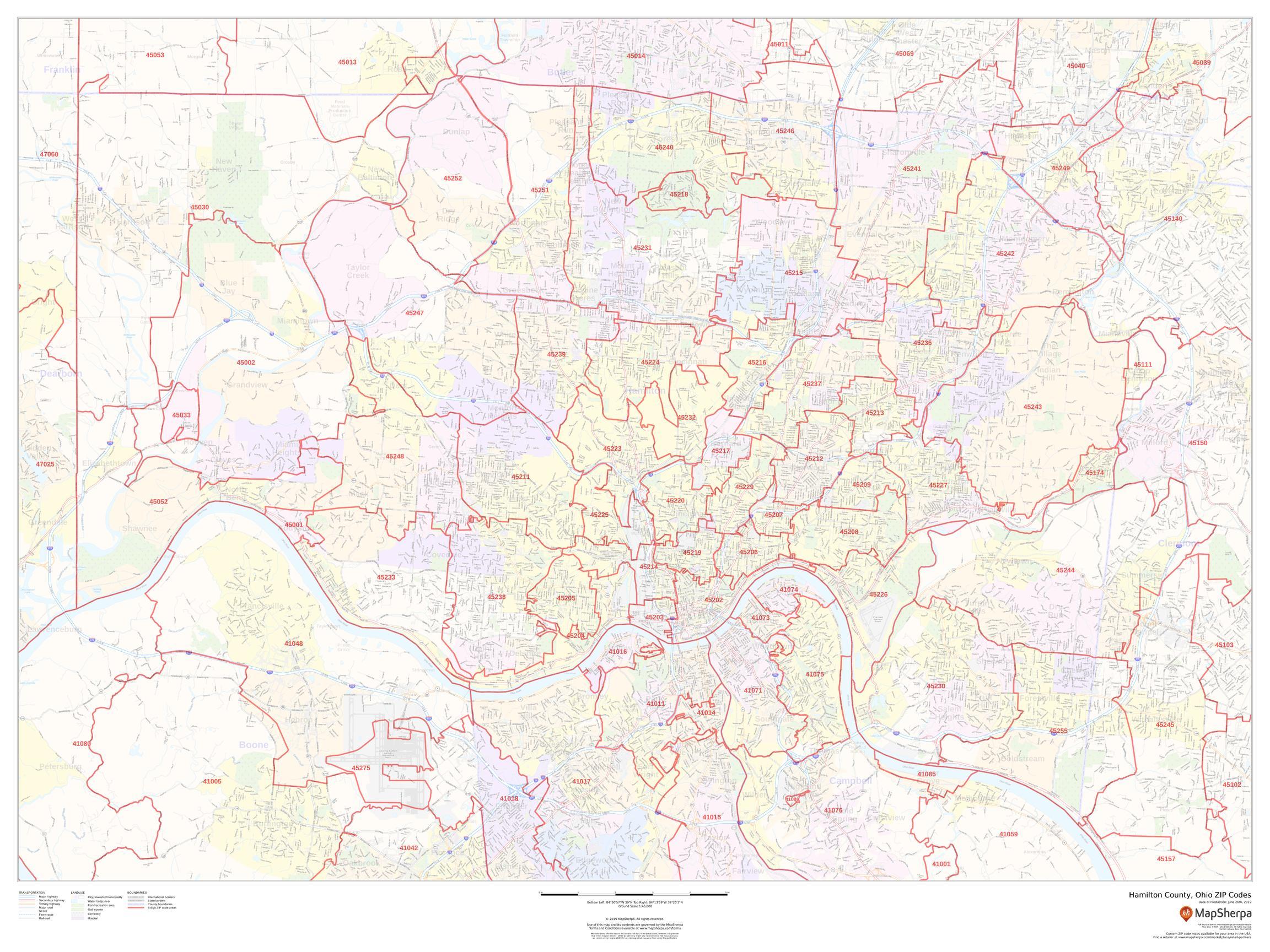 Hamilton County Ohio Zip Code Map