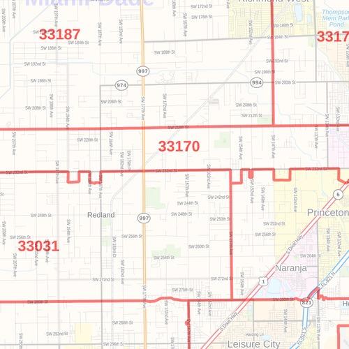 miami-dade county map, florida zip codes