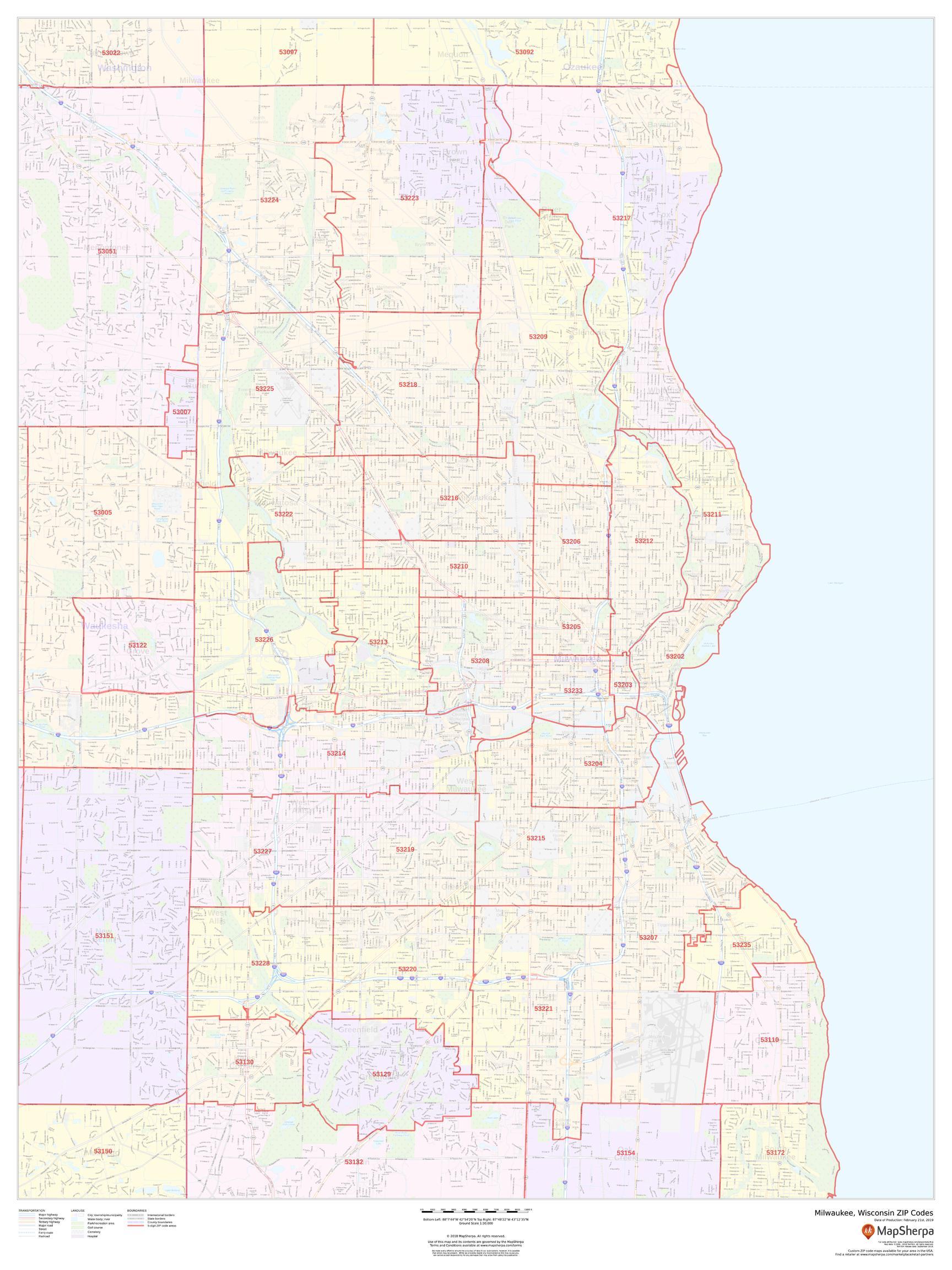 Zip Code Map Milwaukee Milwaukee ZIP Code Map