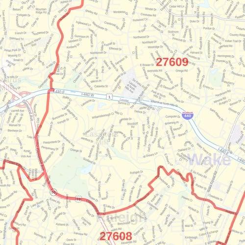Raleigh, North Carolina ZIP Codes Map