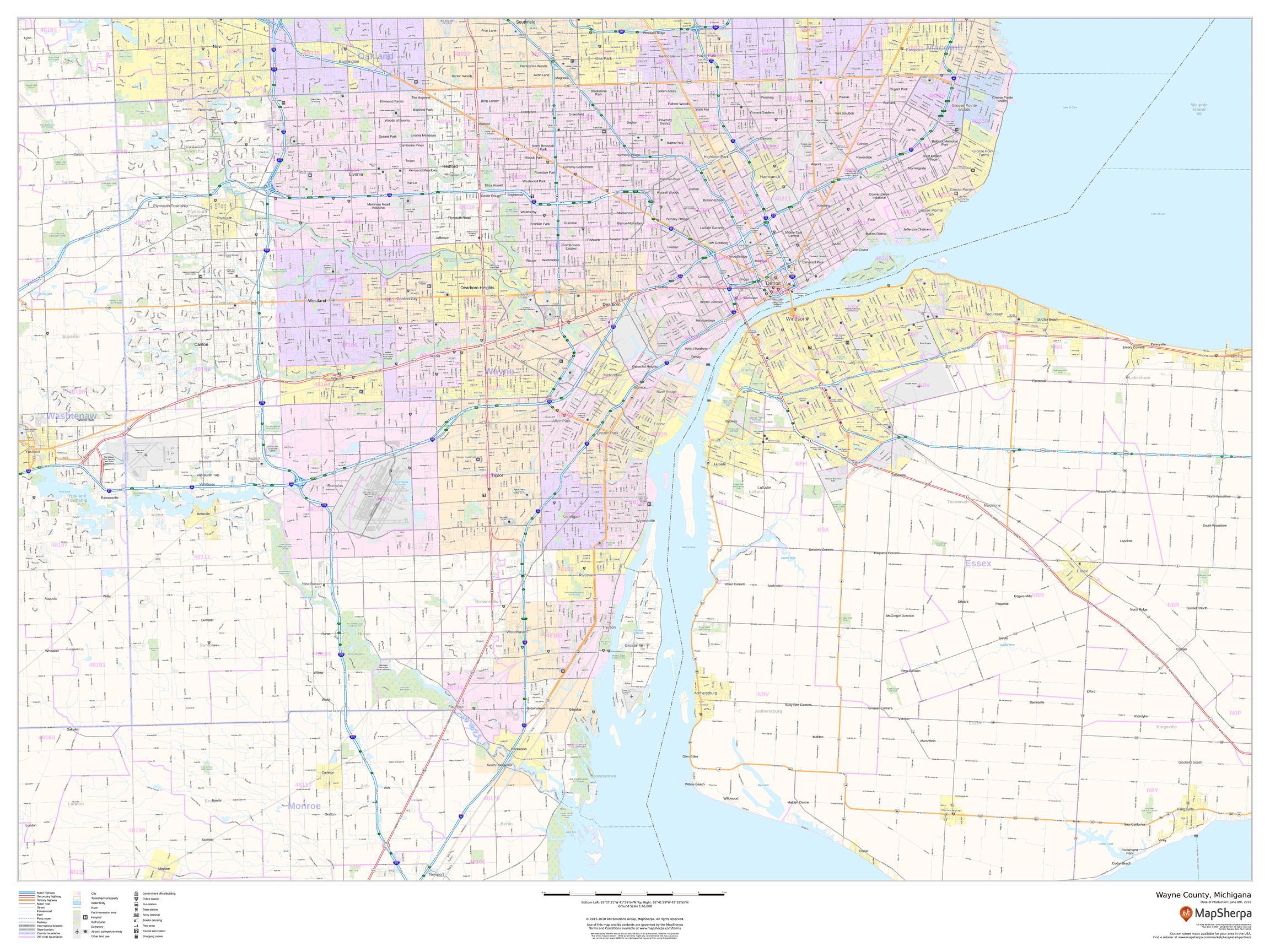 Wayne County Zip Code Map, Michigan